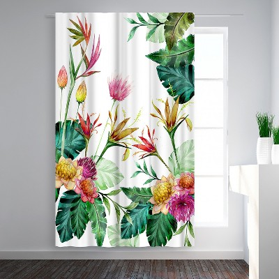 Americanflat Tropical Pink Yellow by Victoria Nelson Blackout Rod Pocket Single Curtain Panel 50x84