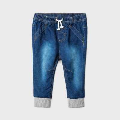 Baby Boys' Long Jogger Jeans - Cat & Jack™ Dark Denim 0-3M