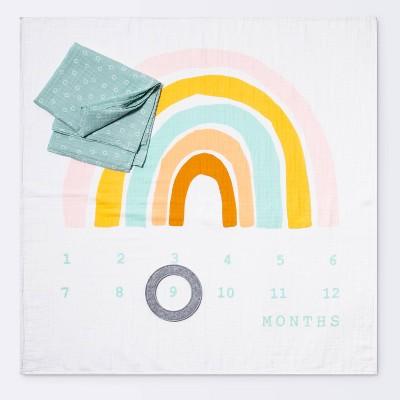 Muslin Blanket with Felt Frame Rainbow - Cloud Island™