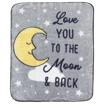 Hudson Baby Infant Boy High Pile Plush Blanket, Moon, One Size