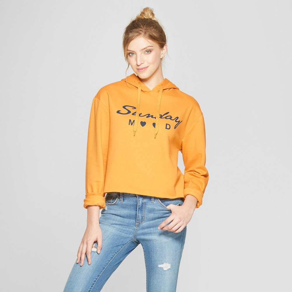Women's Sunday Mood Cropped Hoodie Cropped Sweatshirt - Freeze Yellow M