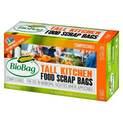 BioBag Compostable Food Scrap Tall Kitchen Trash Bags - 13 Gallon - 12ct