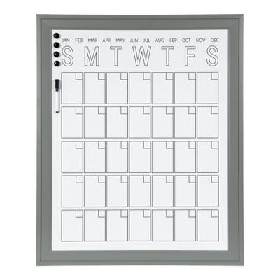 "28"" x 34"" Bosc Framed Magnetic Dry Erase Vertical Monthly Calendar Gray - DesignOvation"