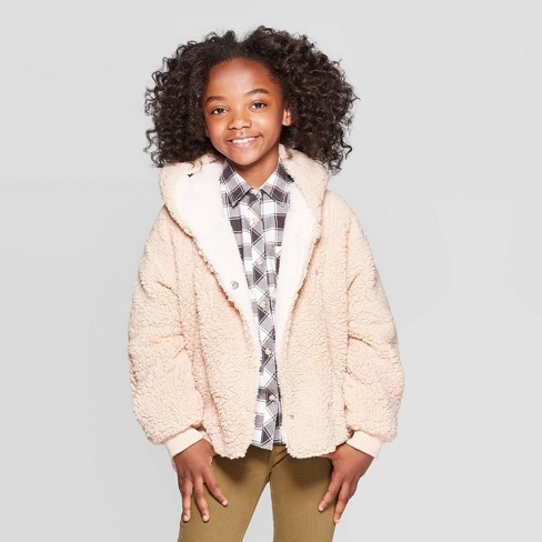 promo code save up to 60% top-rated official Girls' Sherpa Bomber Jacket - Cat & Jack™ Tan