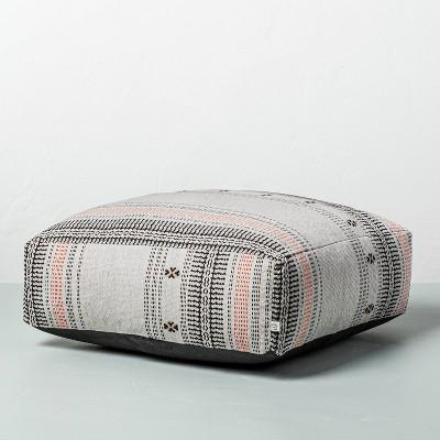 Decorative Ticking Stripe Outdoor Floor Cushion Black/Orange - Hearth & Hand™ with Magnolia