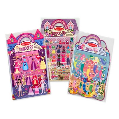 Melissa & Doug Puffy Sticker Activity Books Set: Dress-Up, Princess, Mermaid - 208 Reusable Stickers