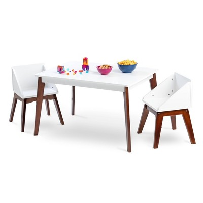 Modern Table and Chair Set Chairs White/Espresso - WildKin