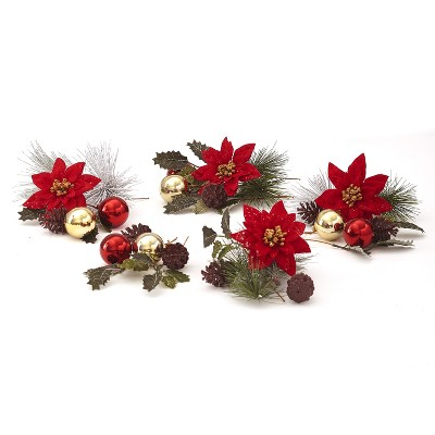 Lakeside Decorative Winter Faux Flowers Fill Set - Holiday Season Floral Tabletop Accent