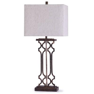 Lattice Table Lamp with Rectangle Shade Bronze - StyleCraft