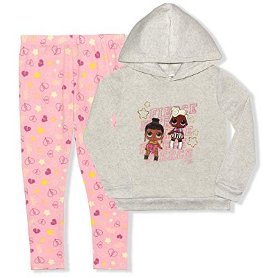 Girl's 2-Pack LOL Surprise Pullover Hoodie Sweatshirt and Patterned Legging Pants Variety For Kids