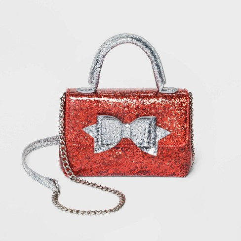 Girls' Glitter Bow with Star Crossbody Bag - Cat & Jack™ Red - image 1 of 1