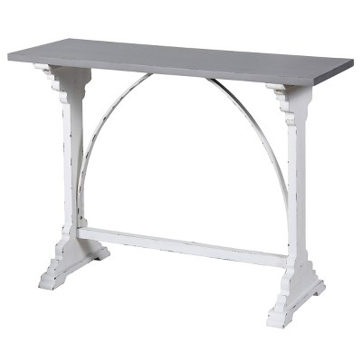 Distressed Metal and Wood Side Table Distressed White - Stylecraft