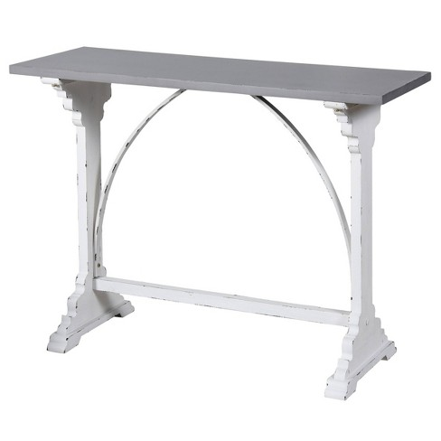 Distressed Metal And Wood Side Table White Stylecraft