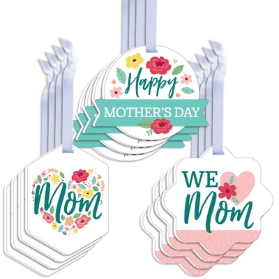 Table Toppers Big Dot of Happiness Colorful Floral Happy Mothers Day Set of 15 We Love Mom Party Centerpiece Sticks