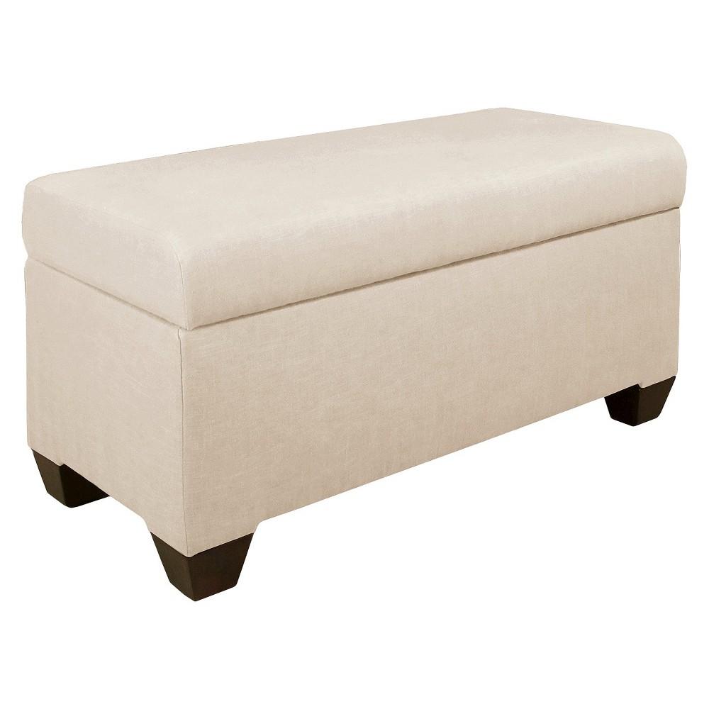 Skyline Custom Upholstered Storage Bench - Skyline Furniture, Linen Talc
