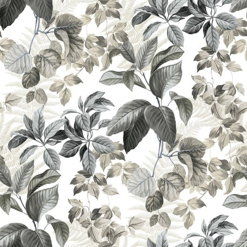 RoomMates 28.2' RainForest Neutral Leaves P&S Wallpaper Gray - image 1 of 4