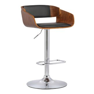 Chauncey Mid-Century Adjustable Swivel Barstool Chrome/Black - Armen Living