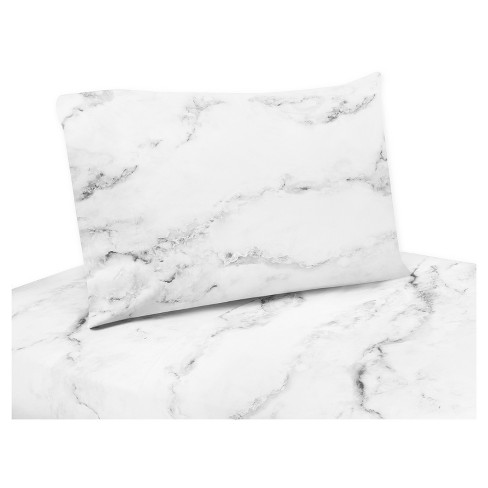 Black White Marble Sheet Set Queen