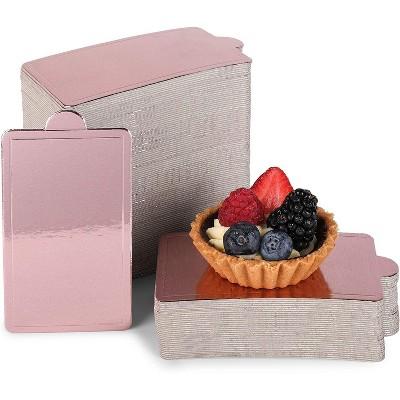 Sparkle and Bash 200 Pack Mini Rose Gold Foil Cake Boards, Rectangular Dessert Base (4 x 2.8 In)