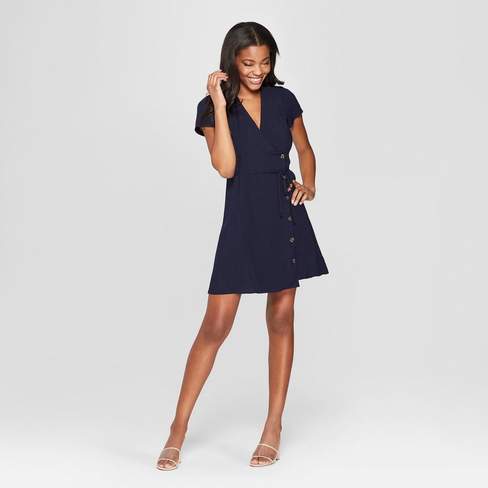 Women's Short Sleeve Side Button-Front Wrap Dress - Xhilaration Navy XL, Blue