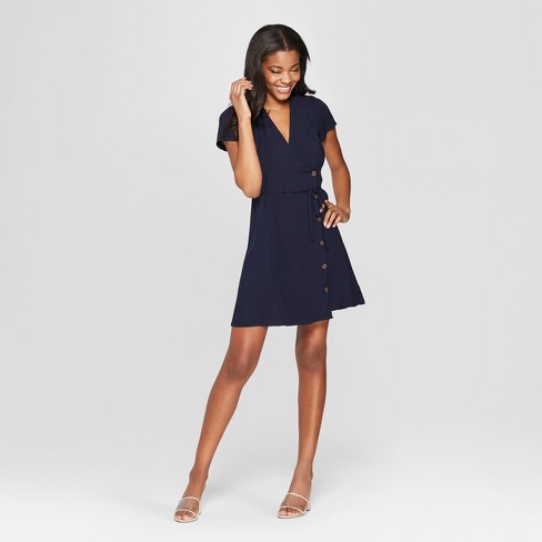 Women's Short Sleeve Side Button-Front Wrap Dress - Xhilaration™ Navy - image 1 of 2