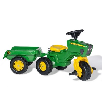 John Deere 3 Wheel Trike Pedal Tractor with Removable Hauling Trailer by Rolly Toys