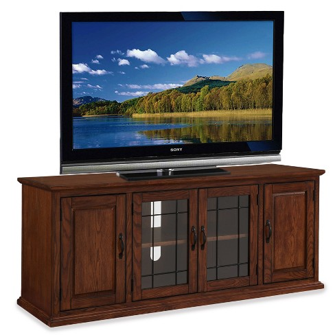 "60"" Leaded Glass TV Stand Brown - Leick Home - image 1 of 8"