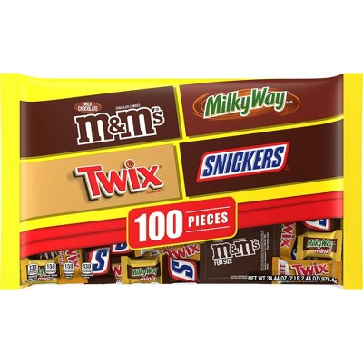 M&M's, Twix, Snickers, Milky Way Halloween Chocolate Variety Pack - 34.44oz/100ct