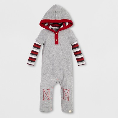 Burt's Bees Baby Boys' Organic Cotton Stripe Hooded Coverall - Heather Gray 0-3M