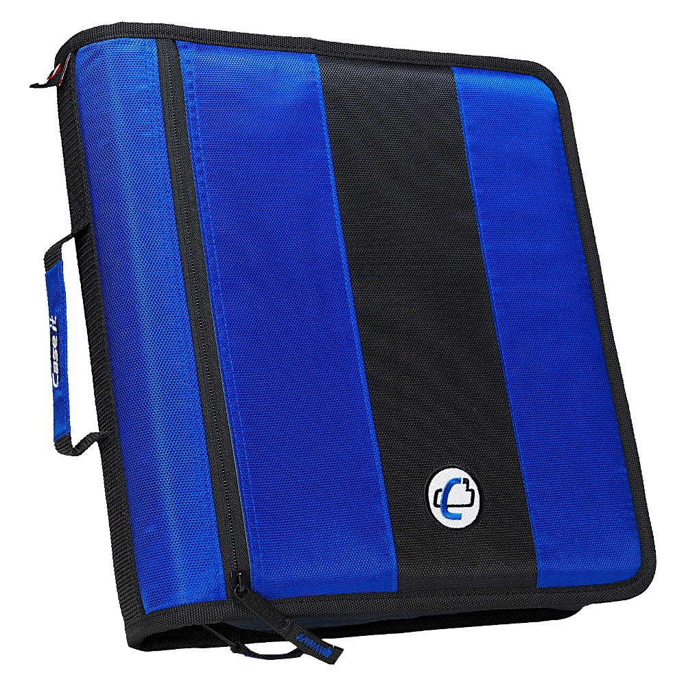 Case•it 2 Zipper 3 Ring Binder with Internal Pockets Blue