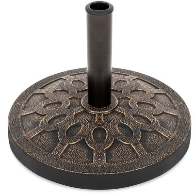 Best Choice Products 18in Round Heavy-Duty Steel Patio Umbrella Base Stand w/ Rust-Resistant Finish - Bronze