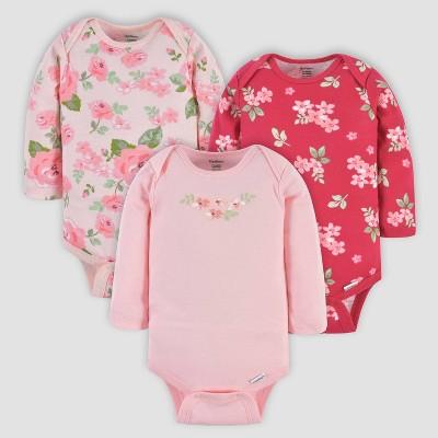 Gerber Baby Girls' 3pk Floral Long Sleeve Onesies - Pink