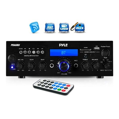 Pyle 200 Watt Bluetooth Home Theater Desktop Stereo Amplifier Receiver with LCD Display, USB Port, SD Card Reader, Remote and FM Antenna (4 Pack)