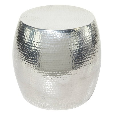 Round Hammered Silver Metal Accent Table Silver - Olivia & May