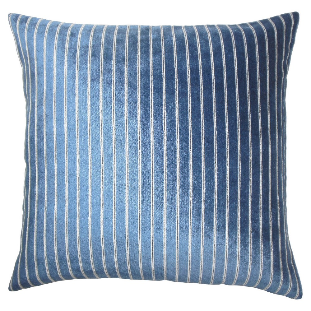 Navy Faux Leather Square Throw Pillow (20