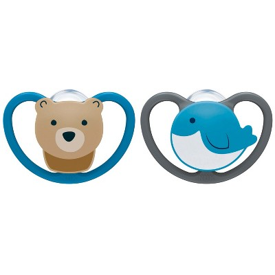 NUK Pacifier 2pk Sz1 Space - Whale/Bear