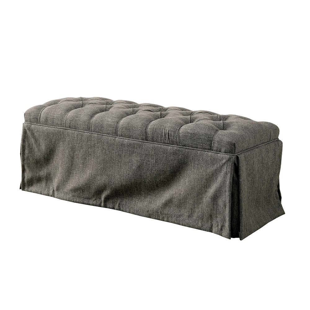 Iohomes Palmquist Transitional Button Tufted Bench Gray - Homes: Inside + Out