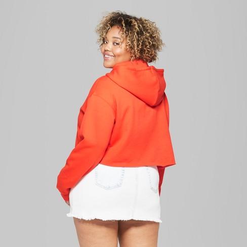 c40c005bd84dd Women s Hooded Cropped Sweatshirt - Wild Fable™ Tigerlily Orange 4X   Target