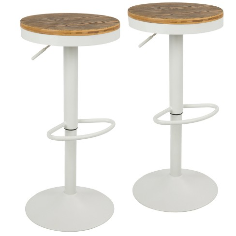 Sensational Set Of 2 Dakota Industrial Adjustable Barstool With Swivel White Lumisource Pdpeps Interior Chair Design Pdpepsorg