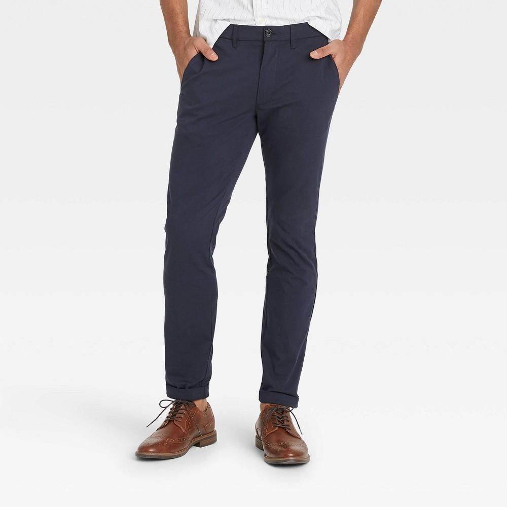 Men 39 S Skinny Fit Hennepin Tech Chino Pants Goodfellow 38 Co 8482 Blue 38x32