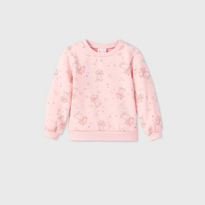 Toddler Girls' Peppa Pig Fleece Pullover Sweater - Pink 3T