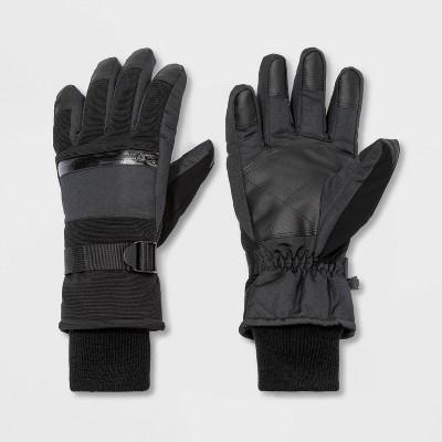 Men's Zipper Pocket Ski Gloves - Goodfellow & Co™ Black