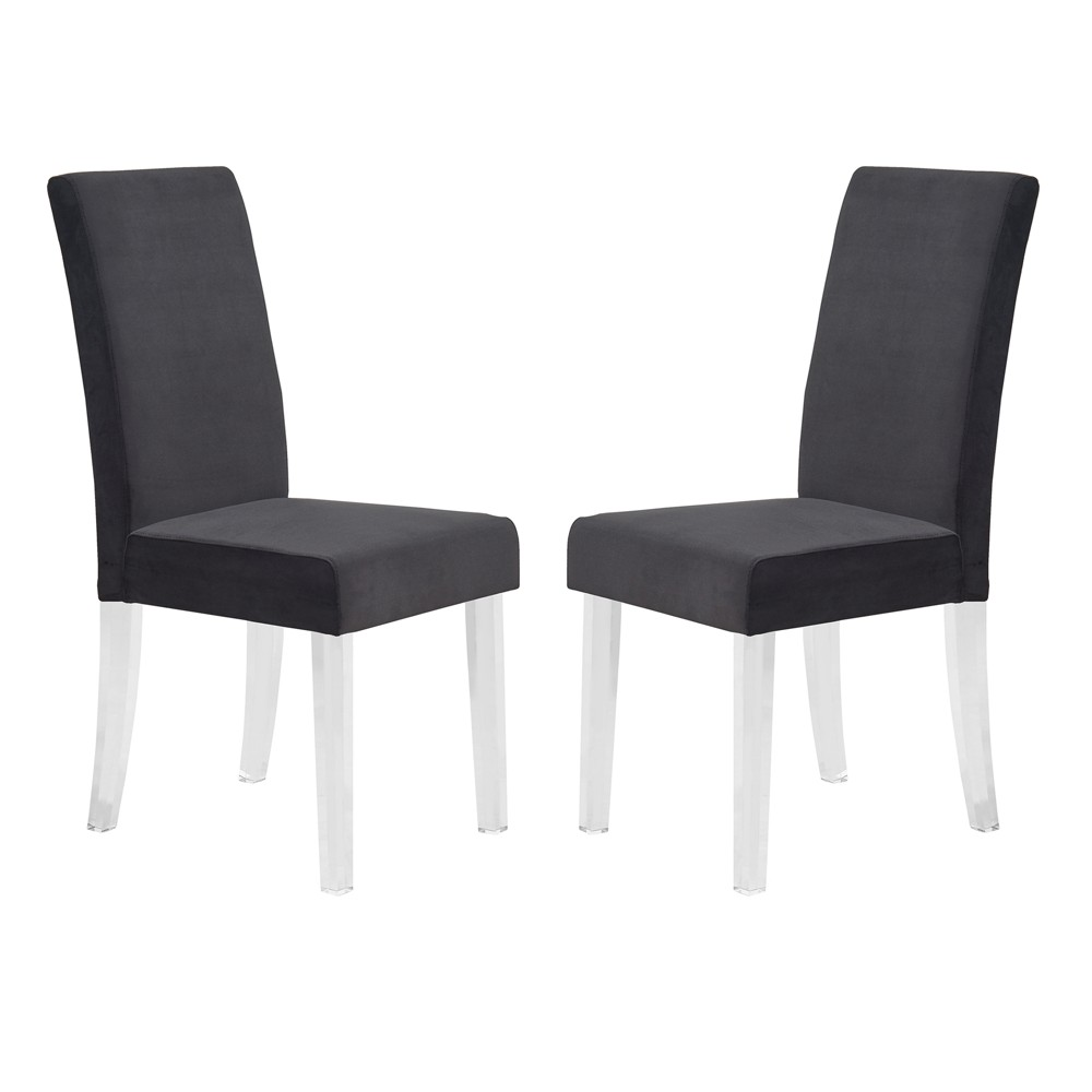 Dalia Modern and Contemporary Dining Chair Set of 2 in Black Velvet with Acrylic Legs - Armen Living