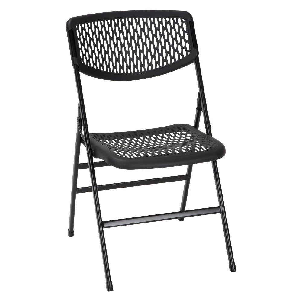 4pc Commercial Resin Mesh Folding Chair Black - Cosco