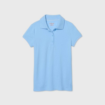 Girls' Short Sleeve Stretch Pique Uniform Polo Shirt - Cat & Jack™ Light Blue
