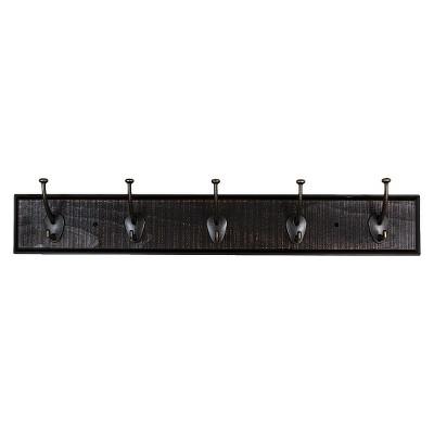 Sumner Street Home Hardware 5 Hook Rustic Wall Coat Rack Black/Brass