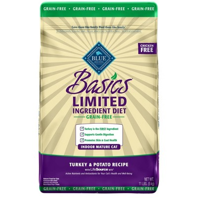 Blue Buffalo Basics Limited Ingredient Diet Indoor with Turkey & Potato Mature Premium Dry Cat Food