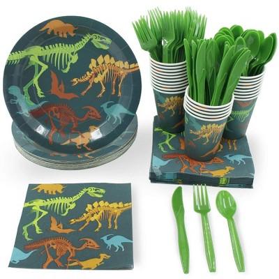 Disposable Dinnerware Set - Serves 24 - Dinosaur Themed Party Supplies for Kids Birthdays, Dino Fossil Skeleton Design