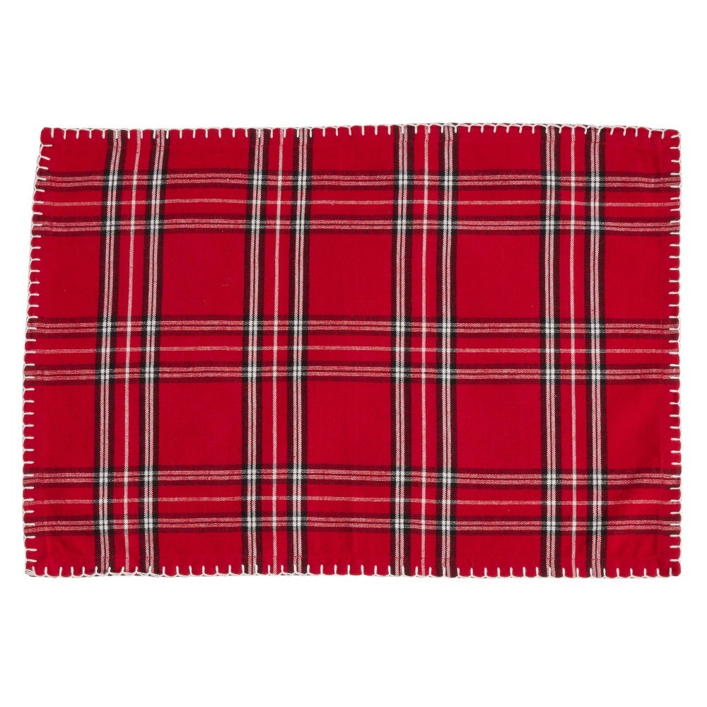 "Image of ""14"""" X 20"""" Plaid Whipstitch Placemat Set of 4 pc Red - SARO Lifestyle"""