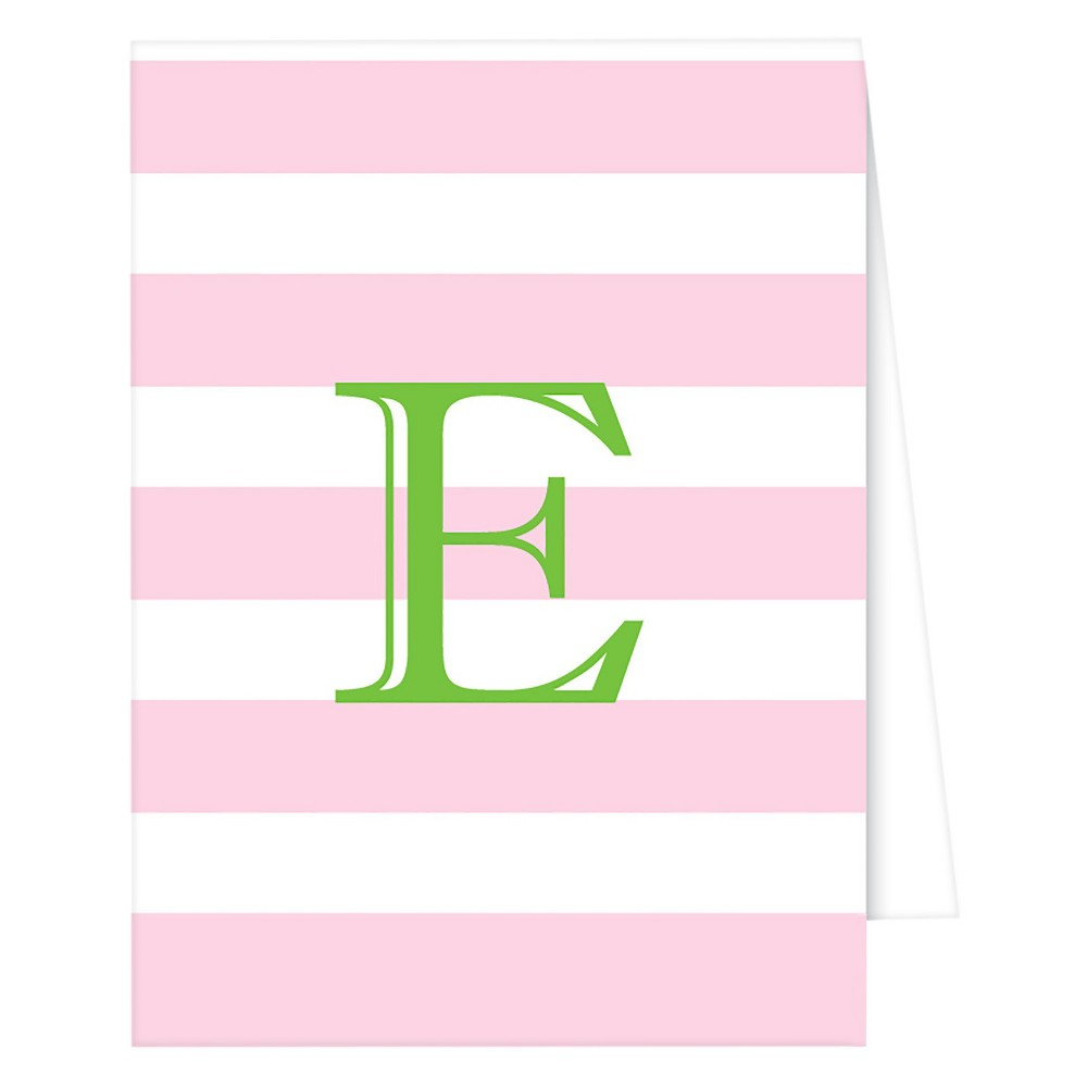 RosanneBECK Collections Light Pink Note Cards - Cabana Stripe Monogram - E